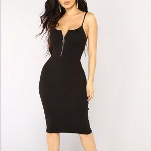 Black Ribbed Midi Tank Dress